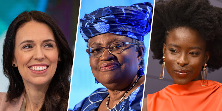 New Zealand Prime Minister Jacinda Ardern, World Trade Organization leader Ngozi Okonjo-Iweala, poet Amanda Gorman.