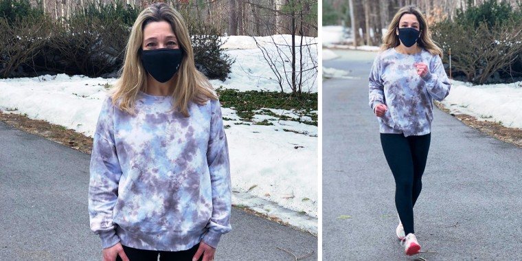 Rachel Abrahamson running outside, testing out the The Under Armour Sportsmask