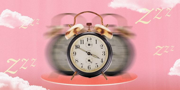 Illustration of blurry alarm clock on pink sky and clouds
