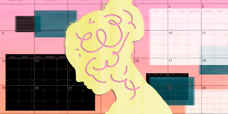 Illustration of woman's profile on a background full of calendars
