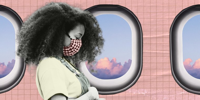 Photo illustration of woman looking out of a plane's window