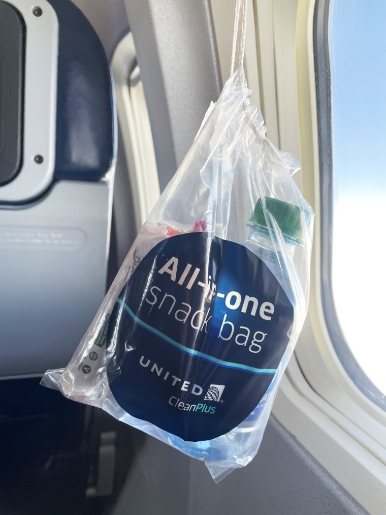 Photo of a snack bag in a plane