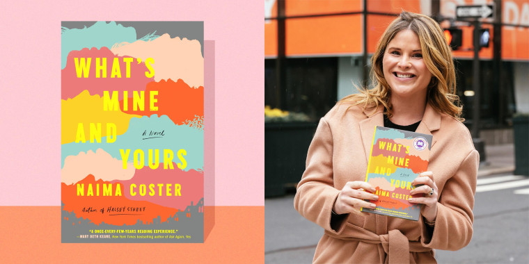 Illustration of Jenna Bush Hager holding her March 2021 book club pick,  What's Mine and Yours by Naima Coster