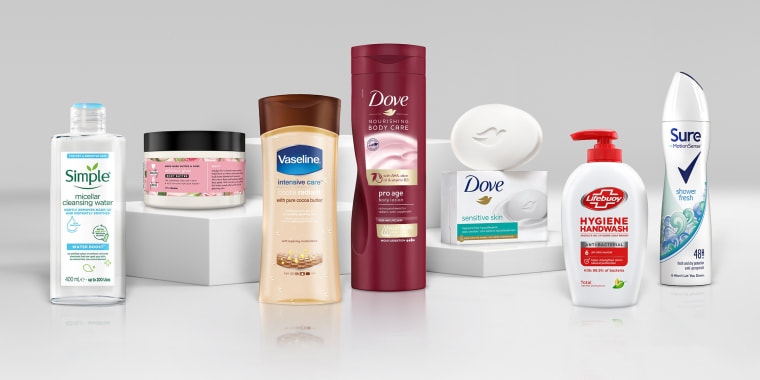 Image: A 2021 handout illustration shows Unilever beauty products without the word 'normal' on its product packaging