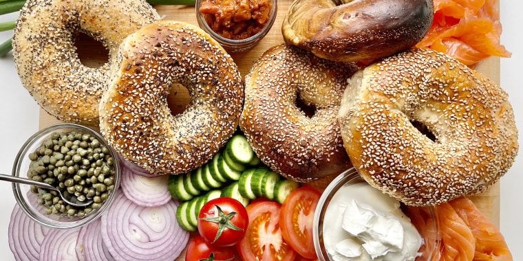 A bagel board I made with beautiful specimens from Tal Bagels in New York City.