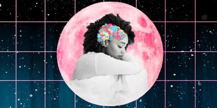 Illustration of woman sleeping on a pink moon