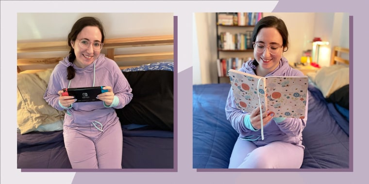 Illustration of Abigail Barr in 2 photos, wearing a purple sweater and sweatpant Jambys set, while playing on her Nintendo switch and reading a book