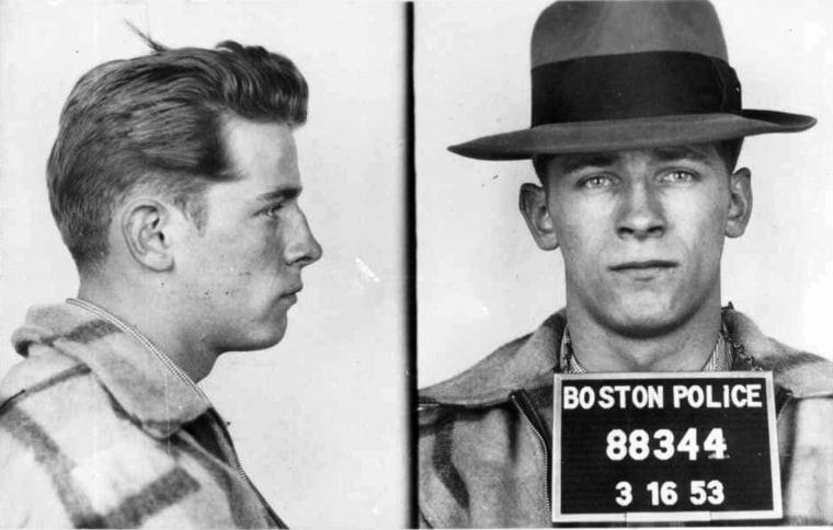 "James \""Whitey\"" Bulger in 1953 police booking photos."
