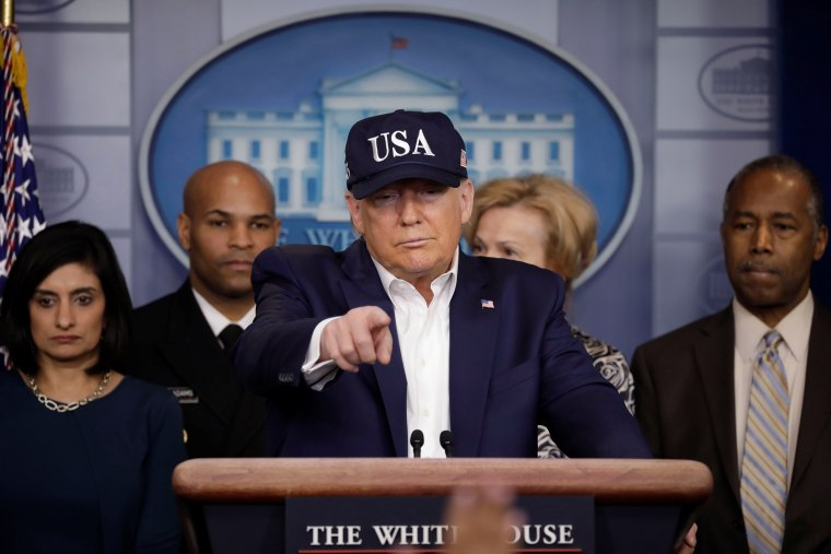Image: President Donald Trump with the Coronavirus Task Force hold a press briefing in Washington