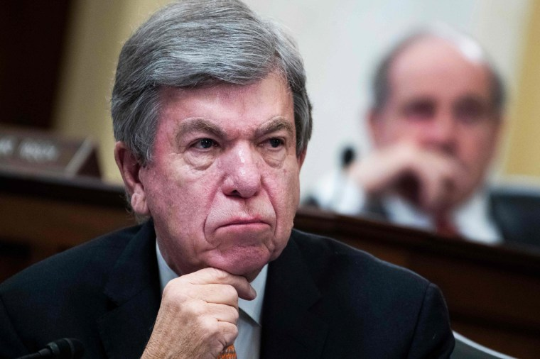 Sens. Roy Blunt, R-Mo., attends the Senate Select Intelligence Committee confirmation hearing for William Burns as Central Intelligence Agency director on Feb. 24, 2021.