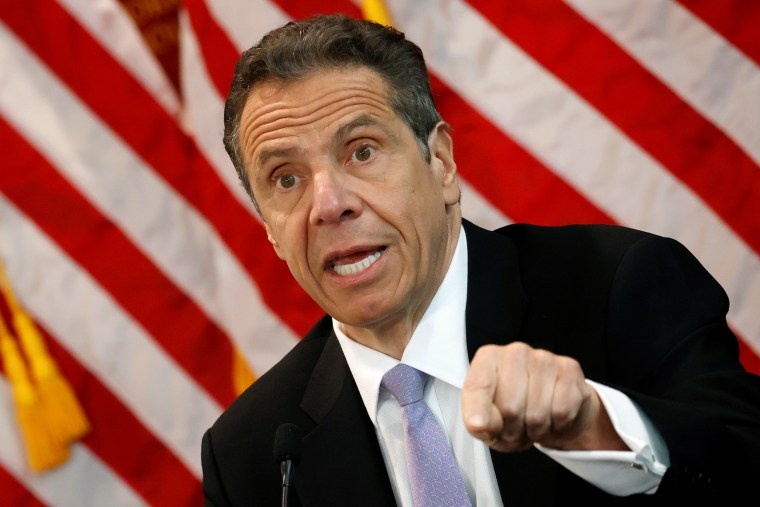 Image: Gov. Andrew Cuomo during his daily coronavirus briefing at New York Medical College in Valhalla, N.Y.