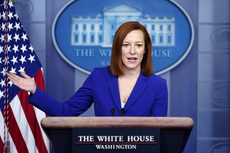 Image: White House press secretary Jen Psaki speaks during a press briefing at the White House on March 8, 2021.