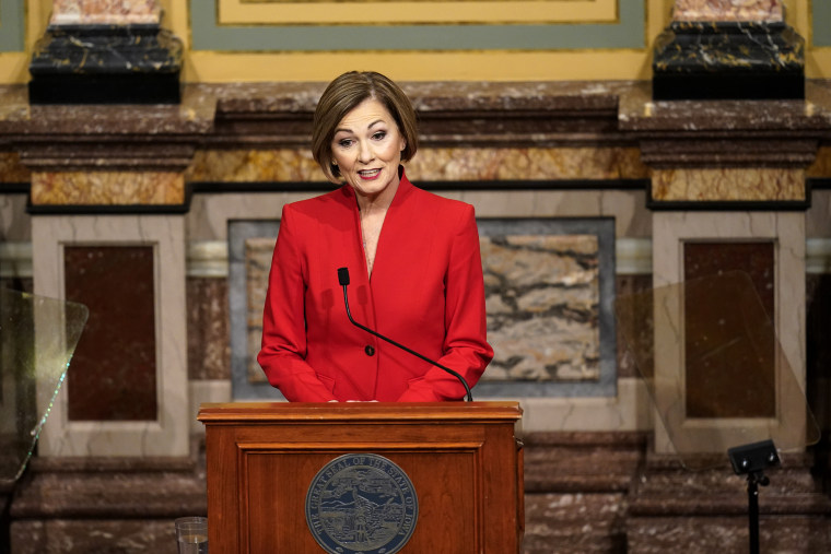 Iowa Gov. Kim Reynolds delivers her Condition of the State address before a joint session of the Iowa Legislature on Jan. 12, 2021