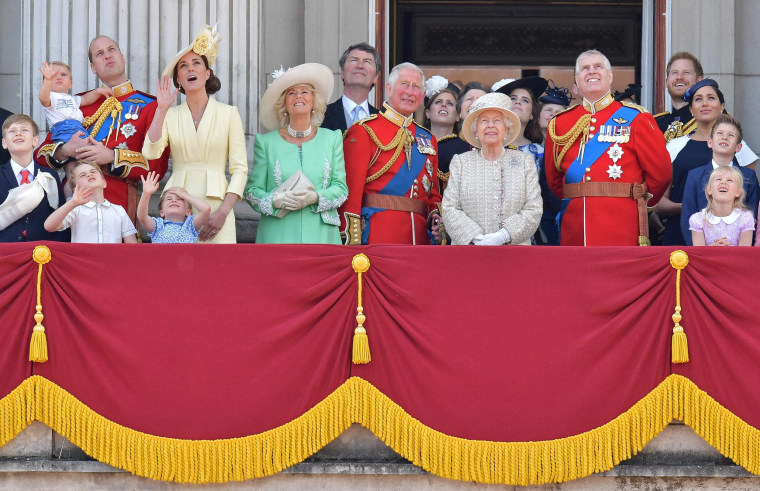 Image: Members of the Royal Family on the balcony of Buckingham Palace to watch a fly-past of aircraft by the Royal Air Force, in London