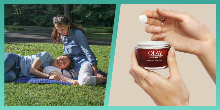 Illustration of Kala Herh and her mom wearing the olay regenerist cream and a bottle of the olay regenerist cream