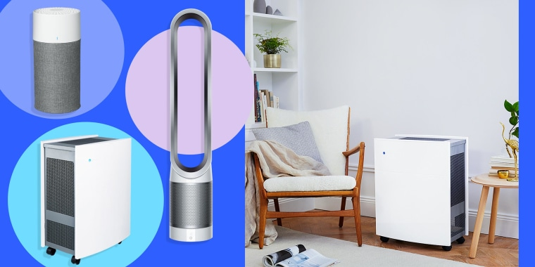 Illustration of  quiet air purifiers such as the Blue Pure 411, Dyson Pure Cool Link(TM) tower TP02 purifier fan and Blueair Classic 680i Air Purifier and lifestyle image of a home with the Blueair Classic 680i Air Purifier