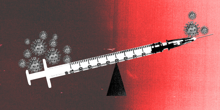 Photo illustration of a vaccine as a weighting scale that is weighed down more on one side by COVID-19 spores than the other.