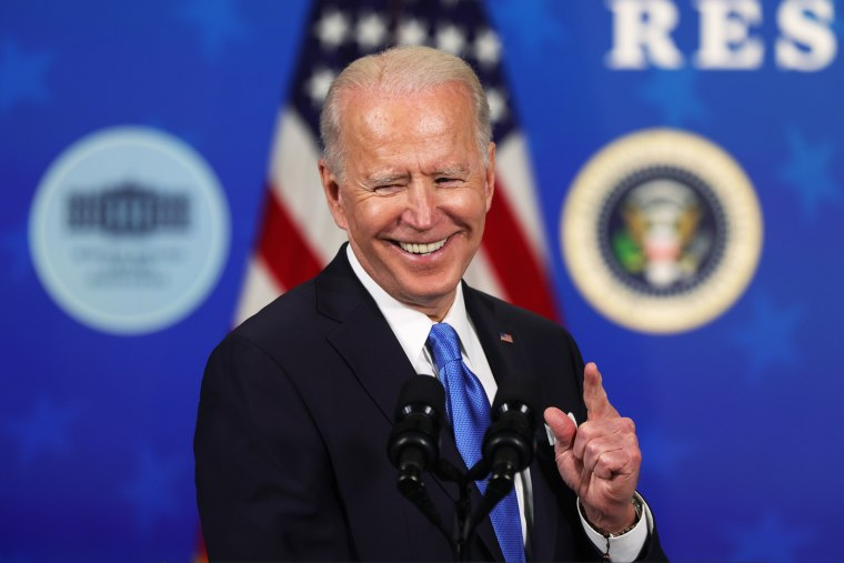 President Joe Biden speaks during an event with the CEOs of Johnson and Johnson and Merck in Washington on March 10, 2021.