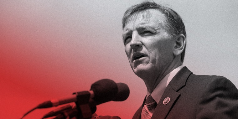 Image: Paul Gosar speaking at a news conference.