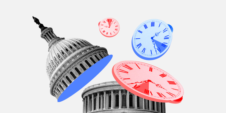Photo illustration of three clocks floating out of a dissected Capitol Dome.