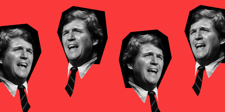 Photo illustration of repeated images of Tucker Carlson speaking.