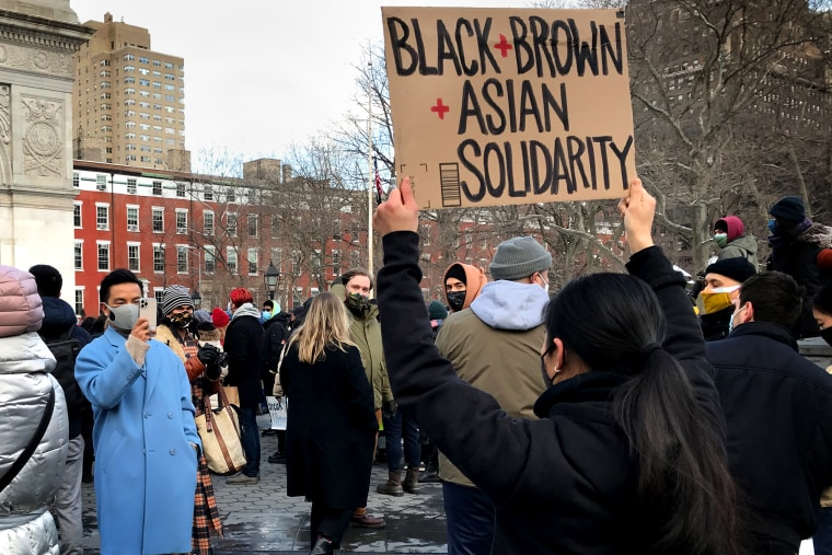 The End The Violence Towards Asians rally in Washington Square Park on Feb. 20, 2021 in New York.