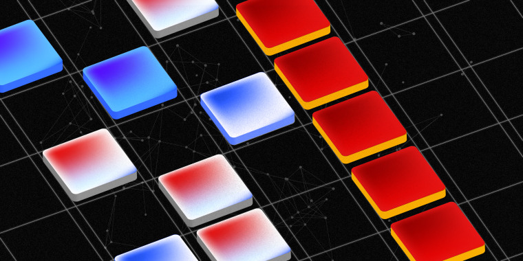 A line of yellow and red colored tiles on a grid. Blue, white and red tiles next to it are scattered but within grid lines.