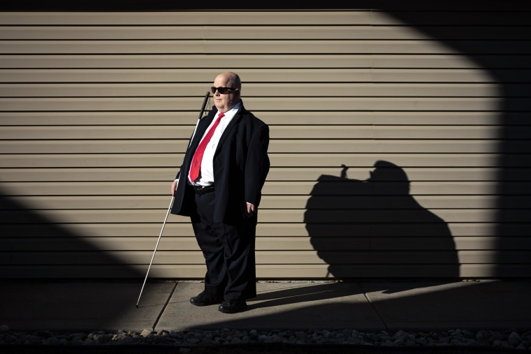 Robert Jaquiss, 67, of Missoula, Mont., has been blind since birth.