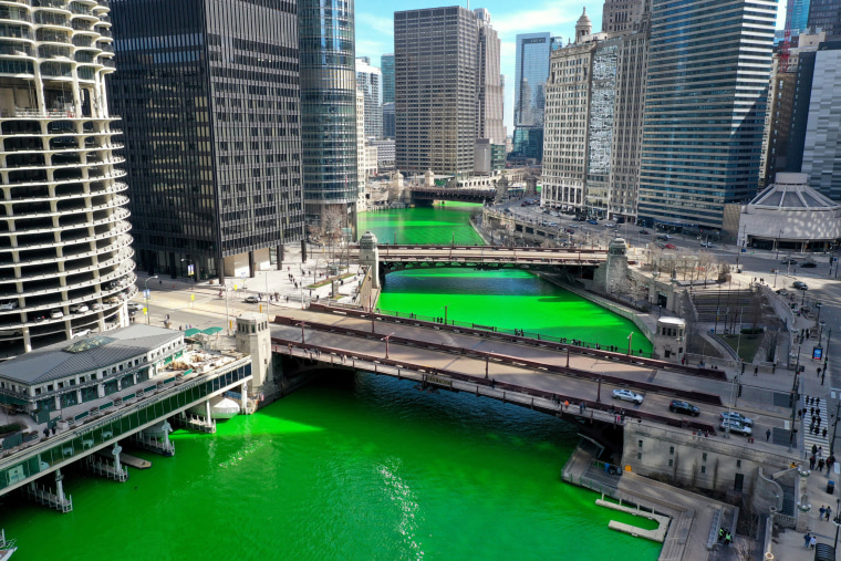 The Chicago River as it flows through downtown after it was dyed green in celebration of St. Patrick's Day on March 13, 2021.
