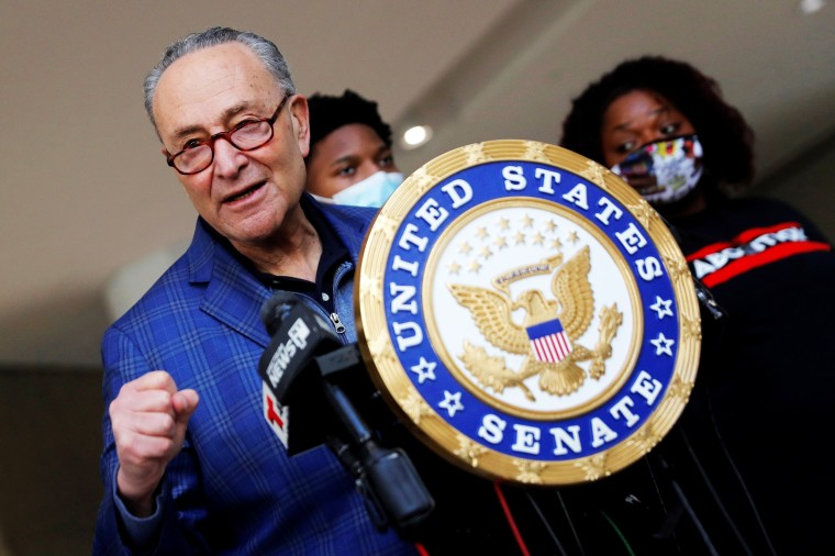 Senate Majority Leader Chuck Schumer speaks about the Covid-19 relief legislation in New York on March 8, 2021.