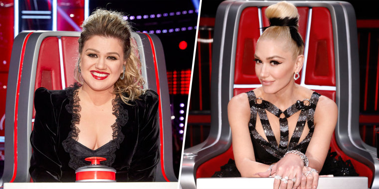 """Kelly Clarkson used Gwen Stefani to make her pitch to a country music artist on Monday night's episode of """"The Voice."""""""