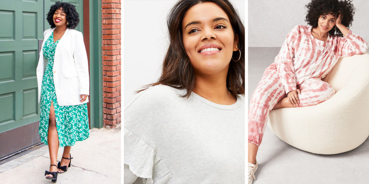 Illustration of three woman wearing different plus-size outfits from Loft