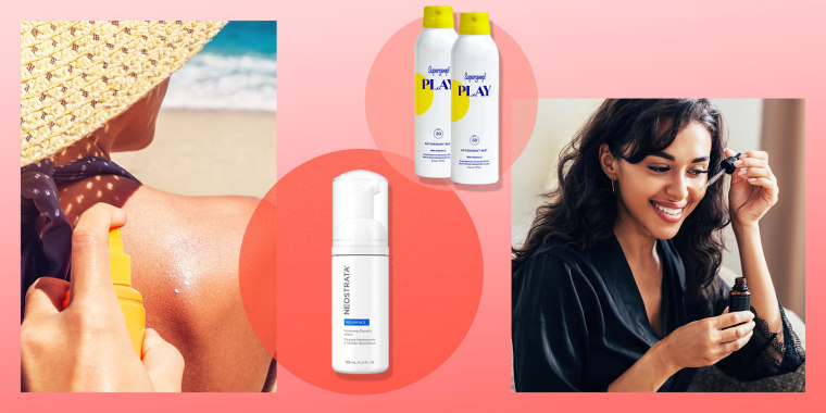 Illustration of a Woman having sun tan lotion sprayed on her back, a Woman applying serum on her face, NeoStrata Foaming Glycolic Wash and Supergoop! PLAY Antioxidant-Infused Body Mist