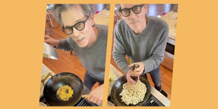 Kevin Bacon shows there's no butter way to make popcorn than in a wok.