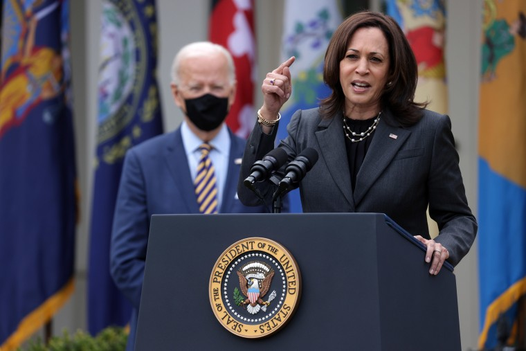 Image: Vice President Kamala Harris speaks as  President Joe Biden listens during a press conference on the American Rescue Plan in the Rose Garden of the White House
