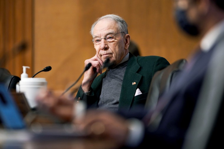 Image: Sen. Chuck Grassley, R-Iowa, questions Deputy Treasury Secretary nominee Adewale Adeyemo during his Senate Finance Committee nomination hearing on February 23, 2021 at Capitol Hill.