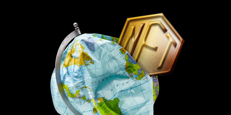 Photo illustration of an NFT token crushing and deflating a globe.