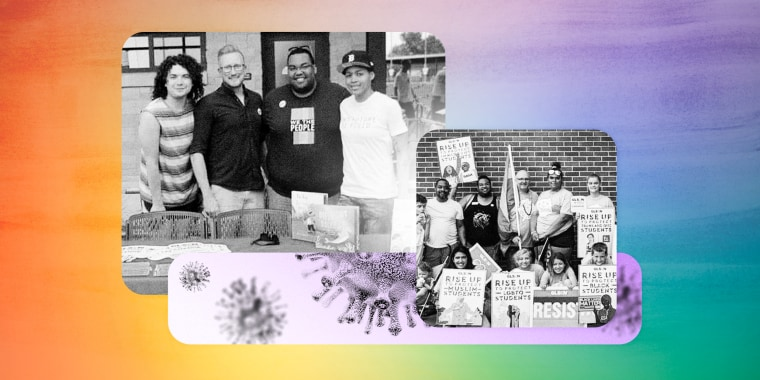 Image: Illustration shows photos of GSA clubs meeting and Covid spores, on a rainbow background.