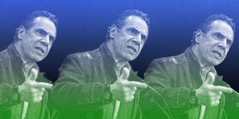 Photo illustration with repeated images of Gov. Andrew Cuomo speaking.