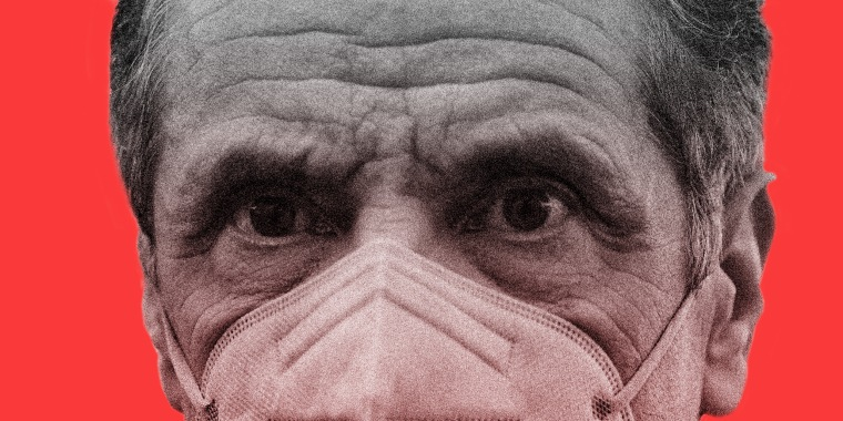 Photo illustration of a close-up of Gov- Andrew Cuomo in a mask.