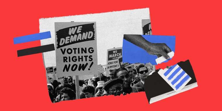 Photo collage of an image of demonstrators holding up signs, one reads 'We Demand Voting Rights Now!' and a torn image of a hand putting a vote into the ballot box.