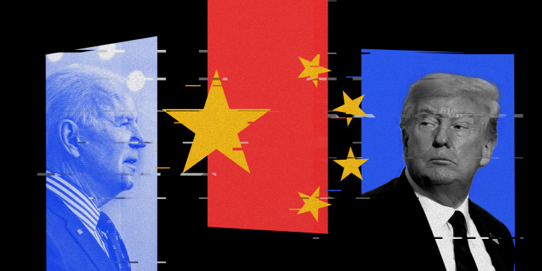Photo illustration of President Joe Biden, the Chinese flag and fmr. President Donald Trump with glitches over it.