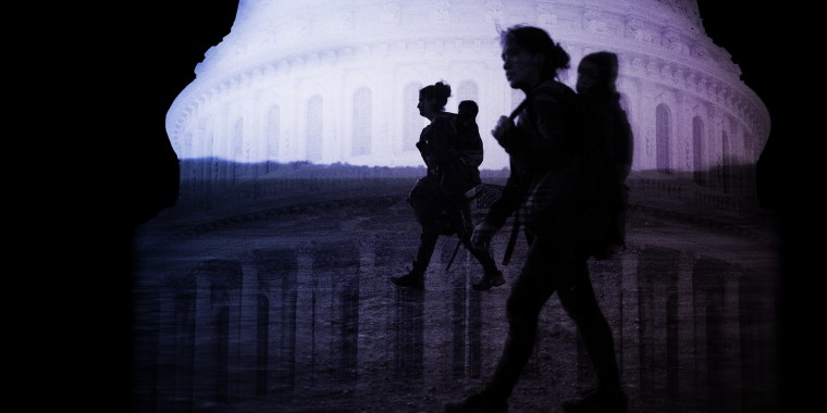 Photo illustration of an image of asylum seeking mothers carrying their children juxtaposed over the U.S. Capitol.