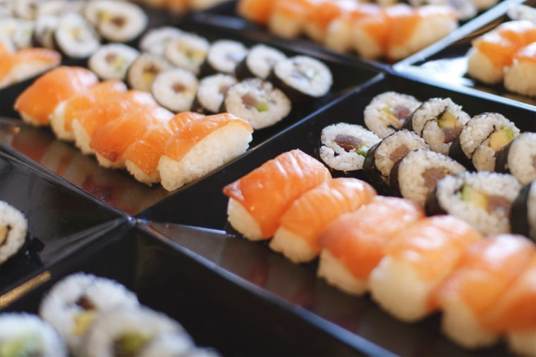 Image: A selection of sushi on a plate.