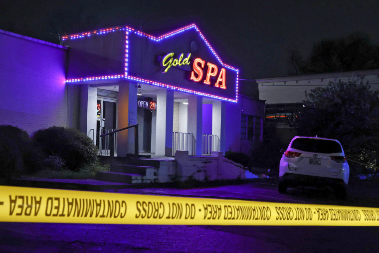 Image: Crime scene tape surrounds Gold Spa after deadly shootings in Atlanta