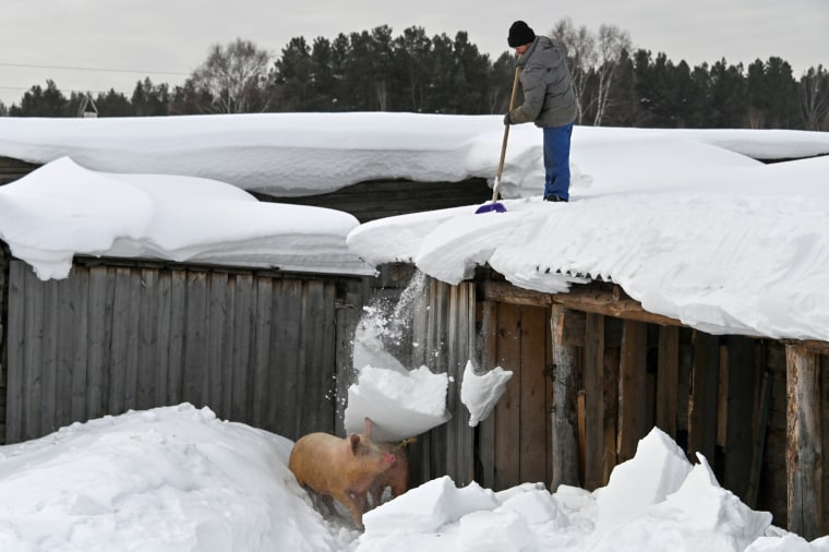 Image: A local resident removes snow in the village of Bobrovka