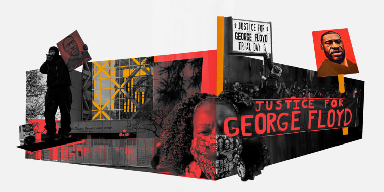 """Photo collage of images of the Hennepin County Government Center, Minneapolis, marching protestors and a sign that reads,\""""Justice for George Floyd Trial Day 3\""""."""