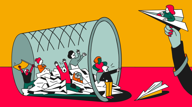 Image: Illustration shows a hand throwing a paper airplane into a trash bin as small figures yell and gesture amidst the crumpled papers.