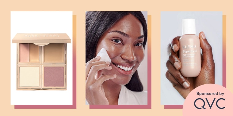 Illustration of Bobbi Brown Essential 5-in-1 Face Palette, Woman using a Lancer Exfoliating Peel Pads with Lactic Acid, and a Woman holding a bottle of ELEMIS Superfood AHA Glow Cleansing Butter