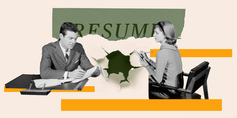 Illustration of woman and men in an office with a resume ripped on top of them